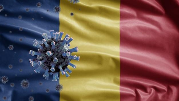 3d, 루마니아 깃발 흔들며 및 코로나 바이러스 2019 ncov 개념. 루마니아에서 아시아에서 발생하는 코로나 바이러스는 유행성 독감과 같은 위험한 독감 사례로 인플루엔자입니다. 현미경 바이러스 covid19
