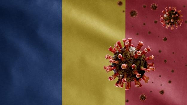 위험한 독감으로 호흡기를 감염시키는 코로나 바이러스 발발과 함께 3d, 루마니아 깃발. 인플루엔자 유형 covid 19 바이러스와 루마니아 국가 템플릿 불고 배경.