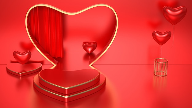 3d romantic red renderings with heart podium for mock up display