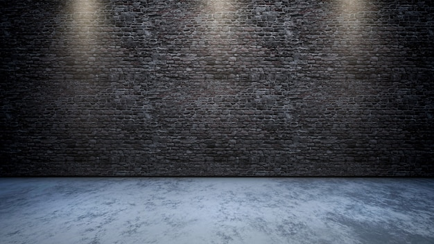 3d room interior with brick wall with spotlights shining down