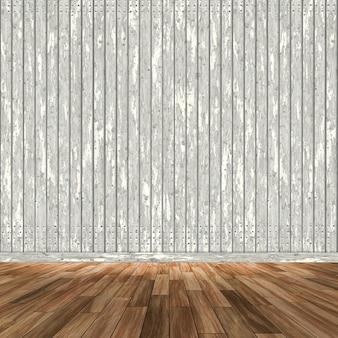 Interni della camera 3d con pareti e pavimenti in legno