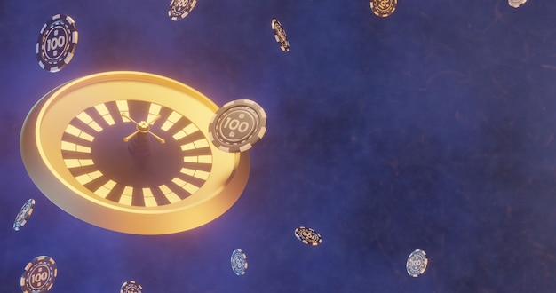 3d roulette with dynamic poker chips illustration, casino tokens background with copy space
