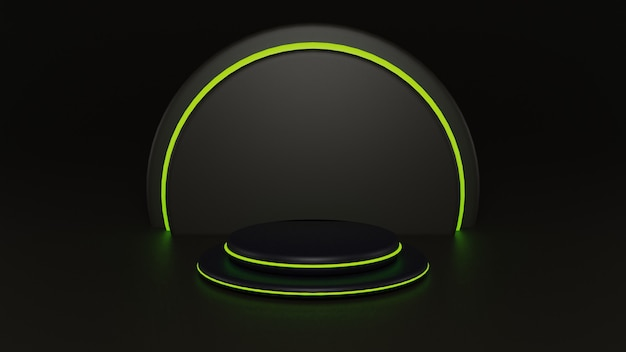 3d round blac podium with circles light for product placement