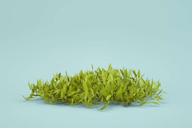 3d round piece of fresh green grass on a white isolated background. fresh grass, 3d graphics, isometric model of fresh, summer, realistic, green grass. separate object. close-up