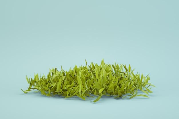 白い孤立した背景に新鮮な緑の草の3d丸い部分。新鮮な草、3dグラフィックス、新鮮な夏のリアルな緑の草のアイソメトリックモデル。別のオブジェクト。閉じる