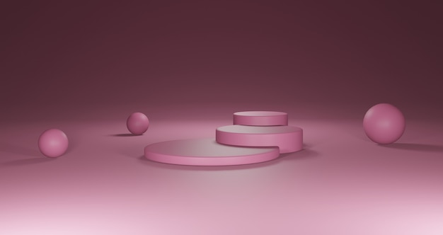 3d round pink podium for product placement