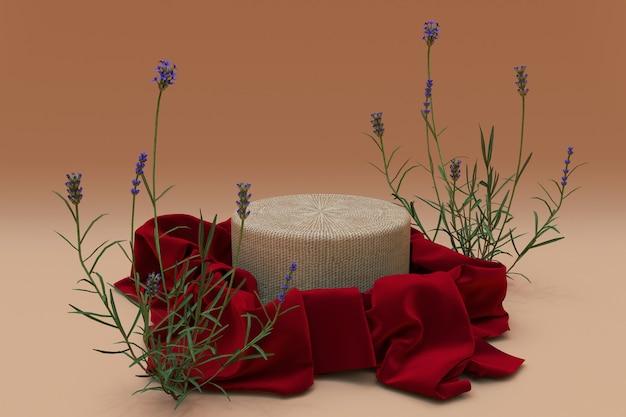 3d круглый подиум, покрытый красной шелковой тканью и цветами лаванды, изолированными на бежевом фоне