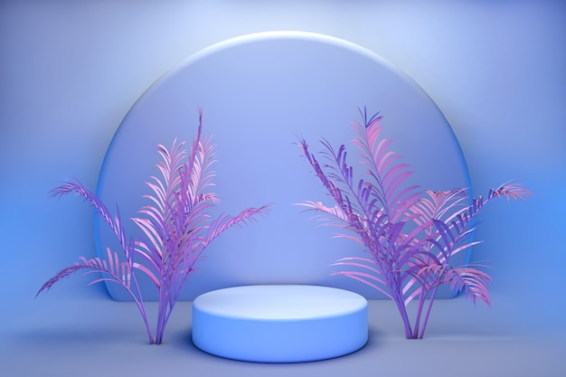 3d round podium, stand on pastel background of blue wall with pink tropical palms. showcase for cosmetic products
