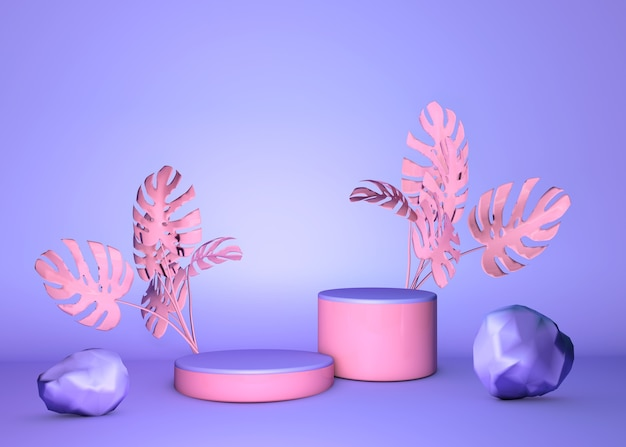 3d round podium, stand on pastel background of purple violet wall with pink tropical palms. showcase for cosmetic products