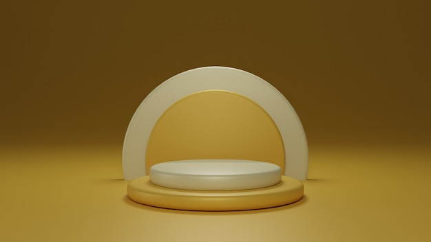 3d round yellow podium for product placement