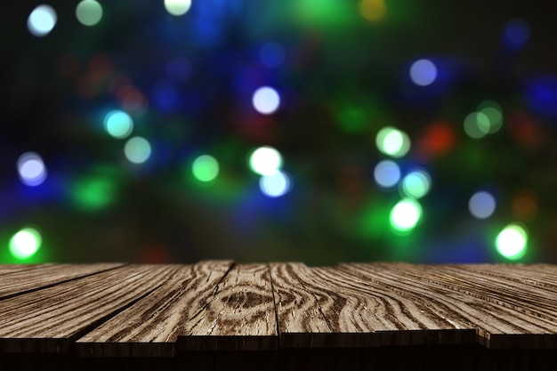 3d rustic wooden table against christmas bokeh lights background