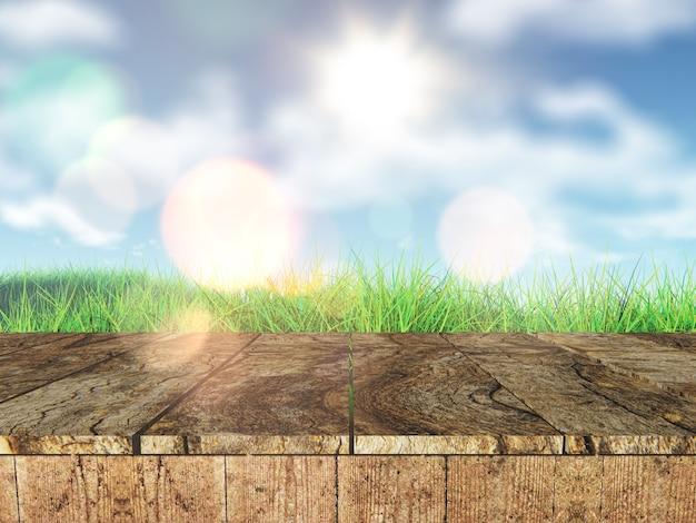 牧草地に見渡す3dの素朴な木製のテーブル