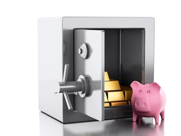 3d safe box. security concept.