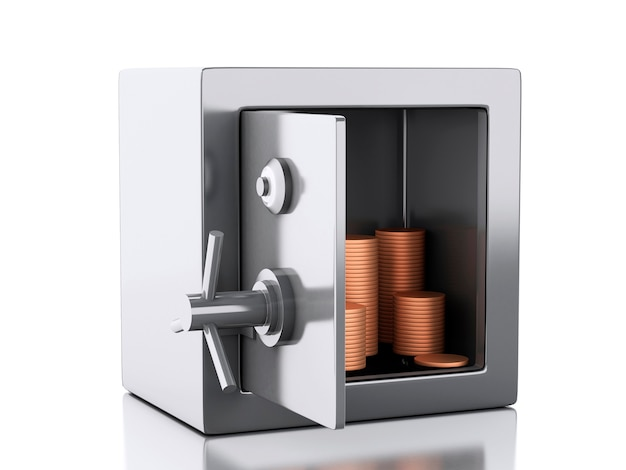 3d safe box with money