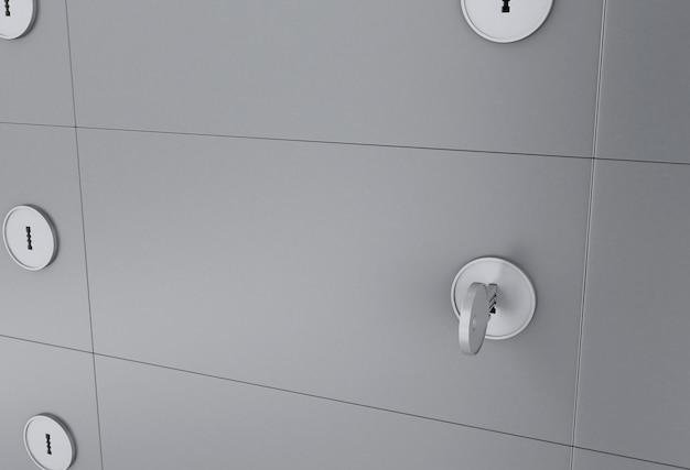 3d safe deposit box with key on keyhole.