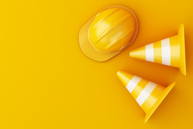 3d safety helmet and traffic cone on orange background.