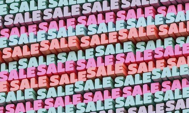 3d 판매 배경입니다. 추상 인쇄 상의 3d 글자 배경입니다. 분홍색과 파란색의 현대적이고 밝은 트렌디한 단어 패턴입니다. 현대적인 표지, 배경 및 전단지