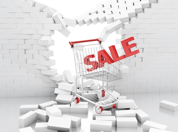 3d sale sign of a shopping cart breaking through a brick wall