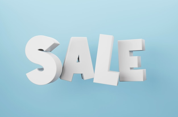 파란색 배경 3d 렌더링에 3d 판매 단어