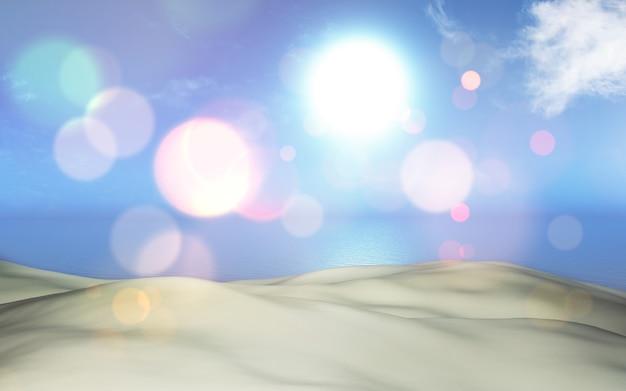 3d 모래와 바다 풍경