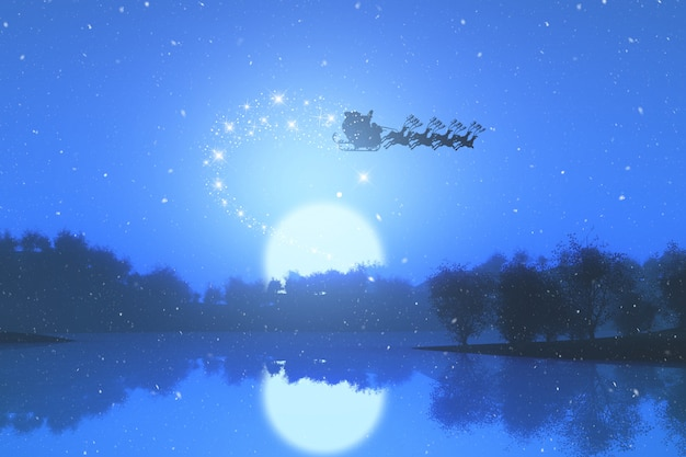 3d santa flying through the sky against a sunset landscape