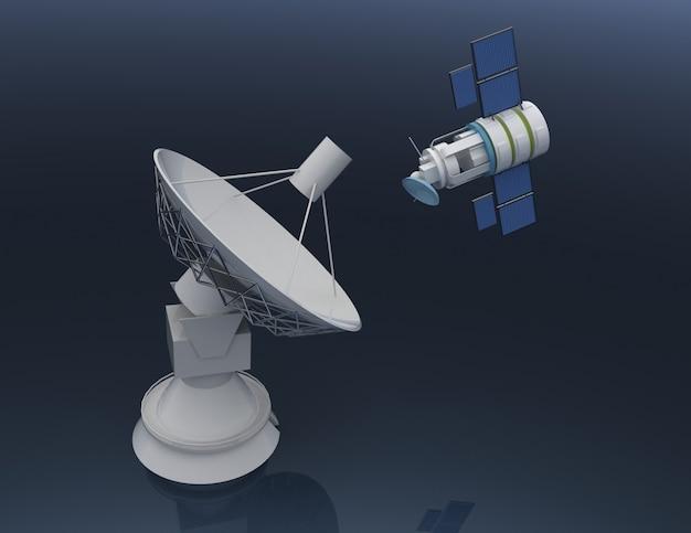 3d спутниковая антенна. связь 3d оказанные иллюстрации