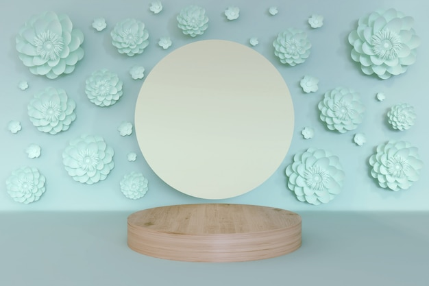 3d scene of geometric shape abstract background in pastel blue color with podium and flower.