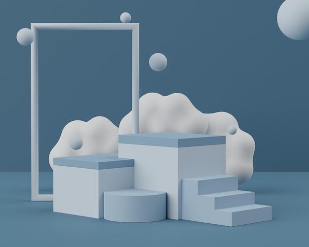 최소한의 어스 톤 배경으로 모의 업 및 제품 프레젠테이션을위한 디스플레이 연단의 3d 장면