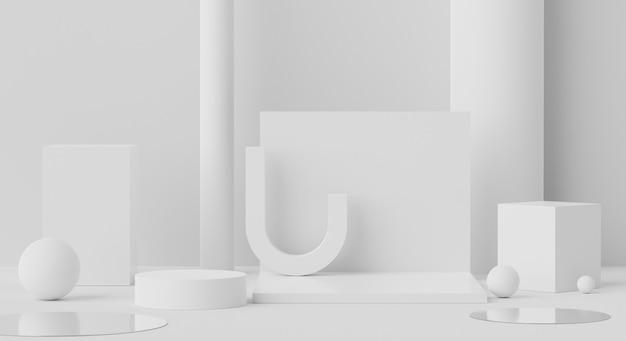 최소한의 흰색 대리석 배경으로 모의 및 제품 프리젠 테이션을위한 디스플레이 연단의 3d 장면