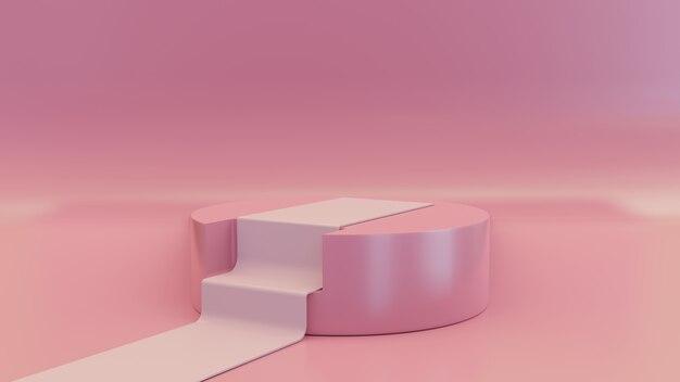 제품 배치를위한 기하학적 핑크 연단의 3d 장면
