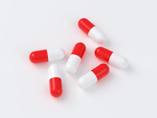 3d-сцена. таблетки размещены группами по 5 таблеток.