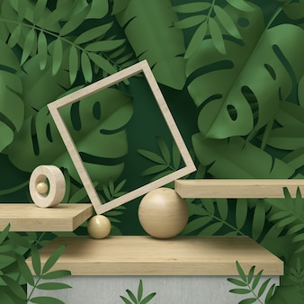 3d scene podium display with tropical leaf background