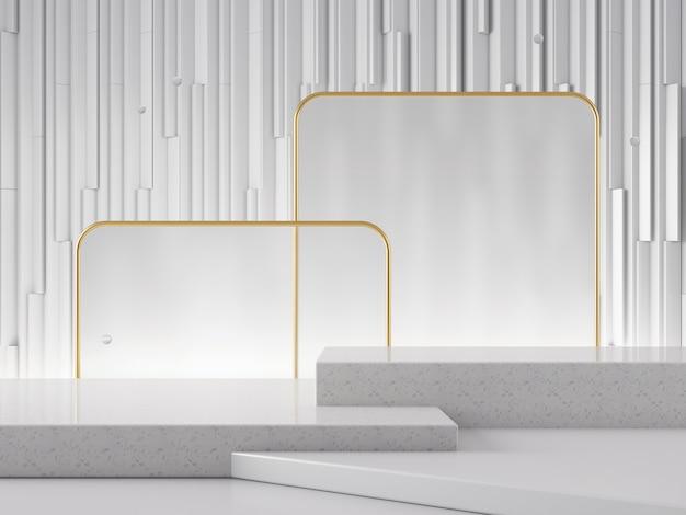 3d 장면 제품 쇼케이스 기하학적 추상 그래픽 배경 wihte 골드 색상 개념 3d 렌더링