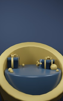 3d scene render of podium with gift decoration