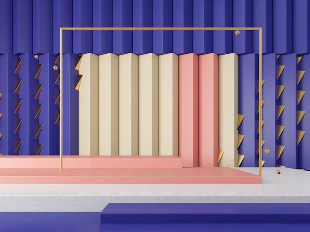 3d 장면 쇼케이스 기하학적 추상 그래픽 배경 색조 개념 3d 렌더링