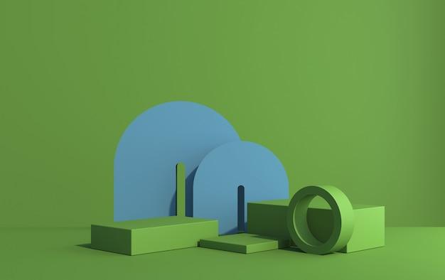 アールデコスタイル、青緑色の色調、3dレンダリングでの製品デモンストレーションのための表彰台のある3dシーン
