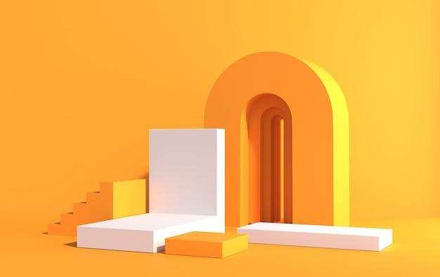 아트 데코 스타일의 제품 데모를위한 연단이있는 3d 장면, 노란색과 흰색 색상, 3d 렌더링