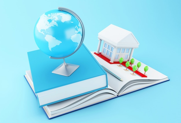 3d school accessories on a opened book