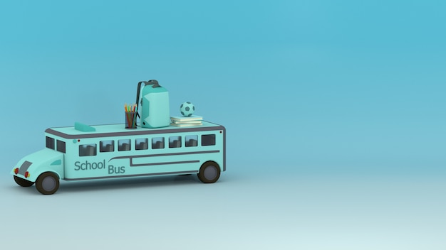 3d school bus, school bag, pencils, color pencils and books with cyan space
