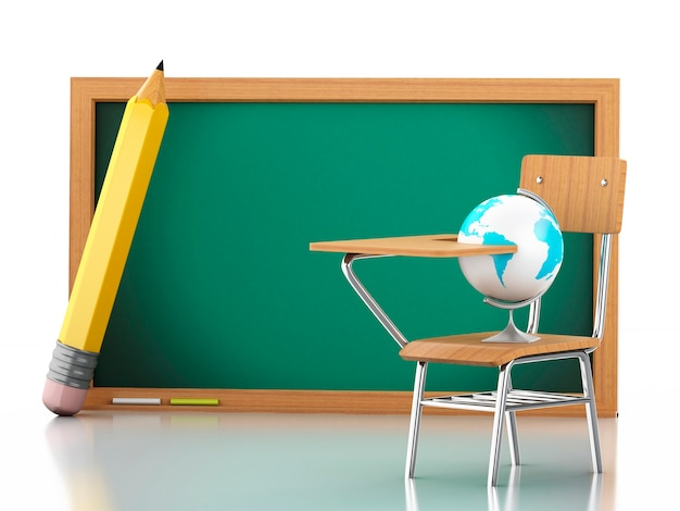 3d school desk, globe and blackboard