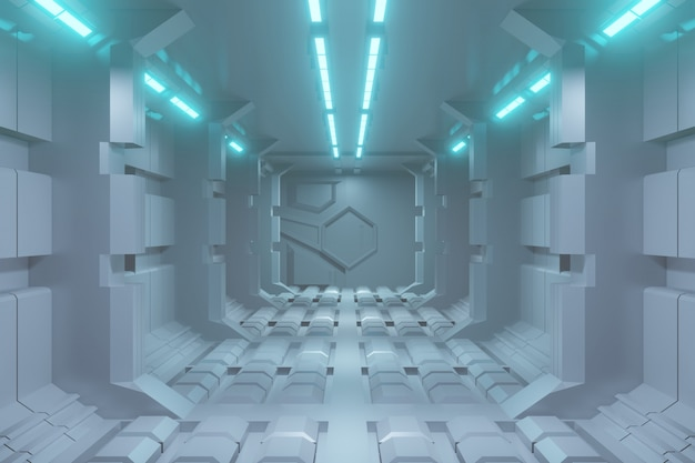 Предпосылка коридора научной фантастики 3d футуристическая с голубым светом.