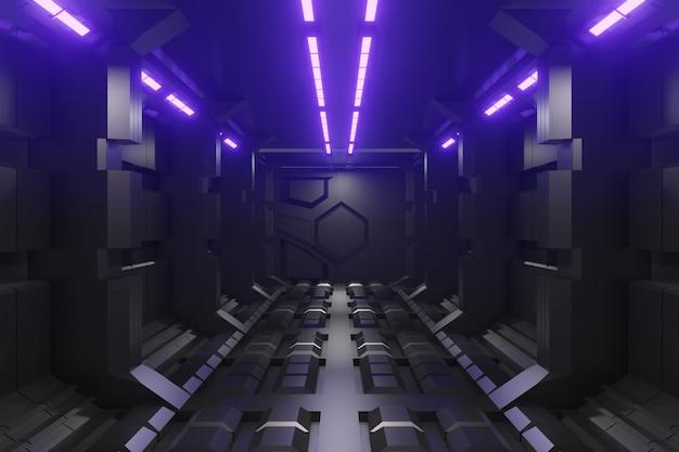 Предпосылка коридора научной фантастики 3d футуристическая с фиолетовым светом.