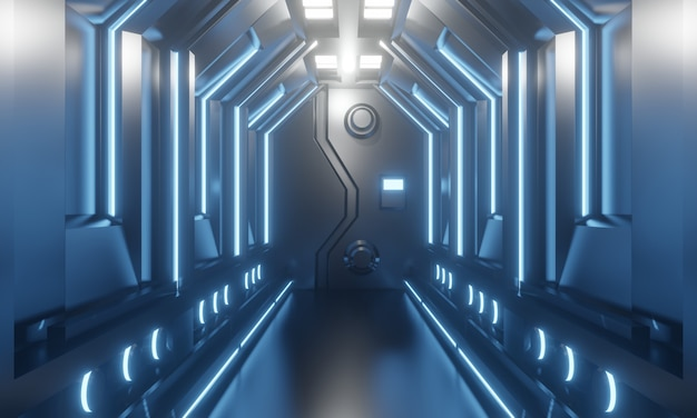 3d sci-fi futuristic spaceship corridor with blue light. 3d illustration.