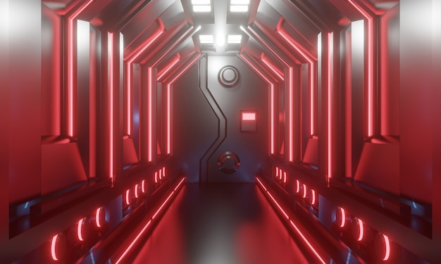 3d sci-fi futuristic spaceship corridor with red light. 3d illustration.
