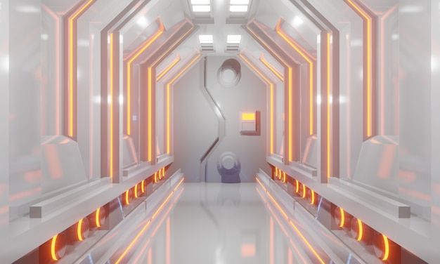 3d sci-fi futuristic spaceship corridor with white floor and orange light. 3d illustration.