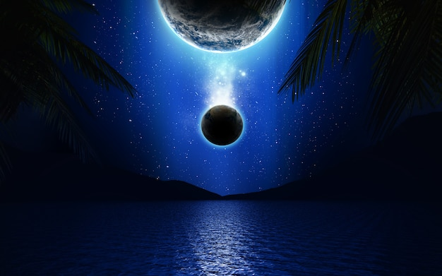 3d science fiction landscape with planets over a lake