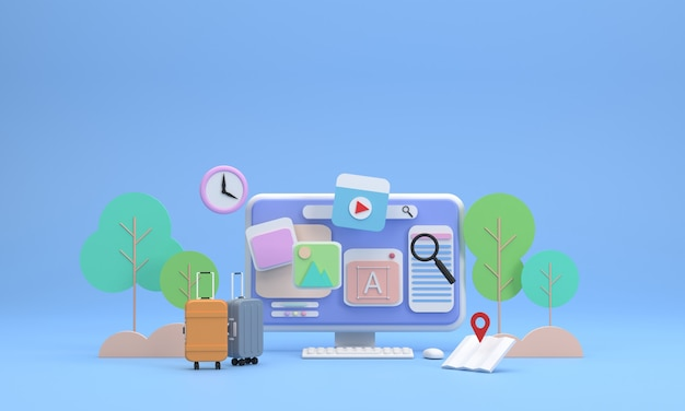 3d screen showing icons about travel pictures and trees background travel bags maps are included