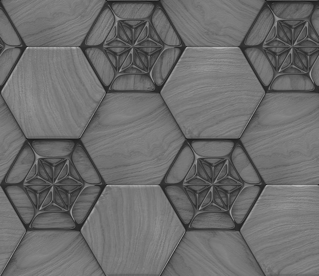 3d бесшовные модели серого дерева шестиугольника дизайн плитки с черными элементами декора.
