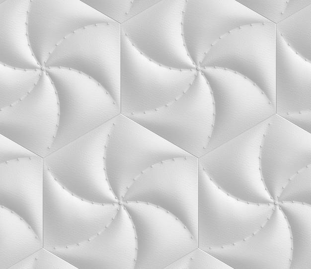 Трехмерный бесшовный узор из имитации светло-серого мягкого панно шестиугольников, обитых кожей и декоративных гвоздей.