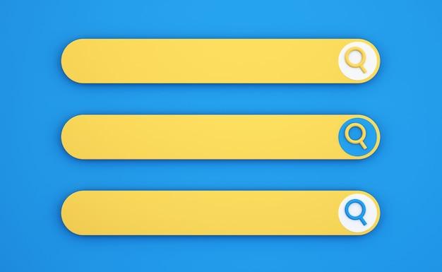 3d панель поиска на синем фоне, концепция коммуникации и социальных сетей, фон 3d иллюстрации